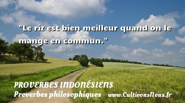 Proverbes indonésiens - Proverbes philosophiques - Le riz est bien meilleur quand on le mange en commun. Un Proverbe indonésien PROVERBES INDONÉSIENS
