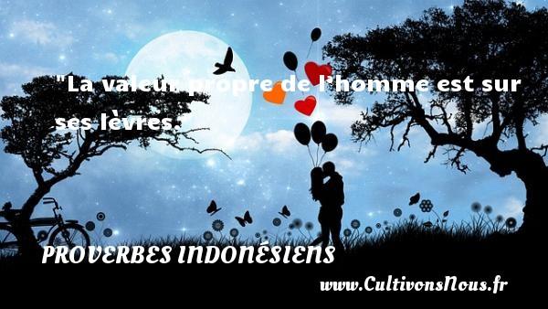 La valeur propre de l'homme est sur ses lèvres. Un Proverbe indonésien PROVERBES INDONÉSIENS - Proverbes indonésiens - Proverbes philosophiques