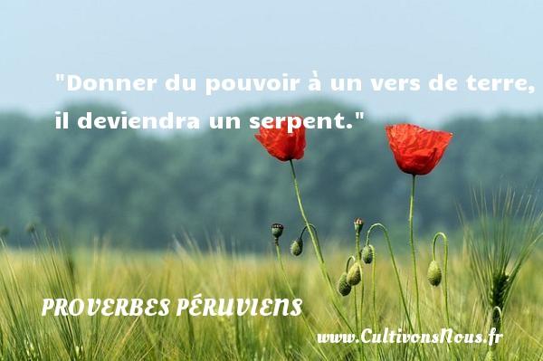 Proverbes péruviens - Proverbes philosophiques - Donner du pouvoir à un vers de terre, il deviendra un serpent. Un Proverbe péruvien PROVERBES PÉRUVIENS