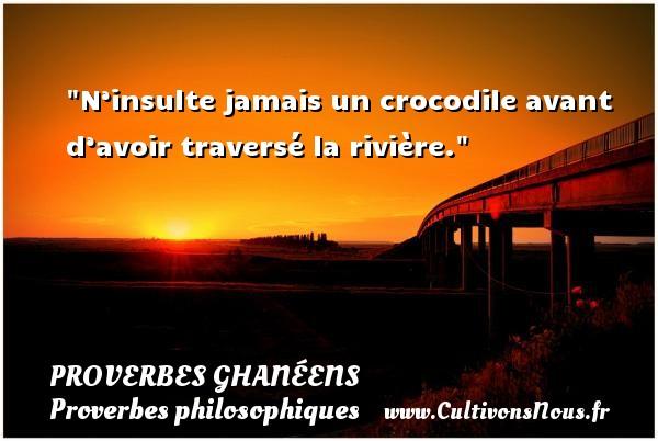 N'insulte jamais un crocodile avant d'avoir traversé la rivière. Un Proverbe ghanéen PROVERBES GHANÉENS - Proverbes ghanéens - Proverbes philosophiques