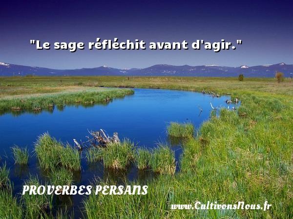 Le sage réfléchit avant d agir. Un Proverbe persan PROVERBES PERSANS - Proverbes agir