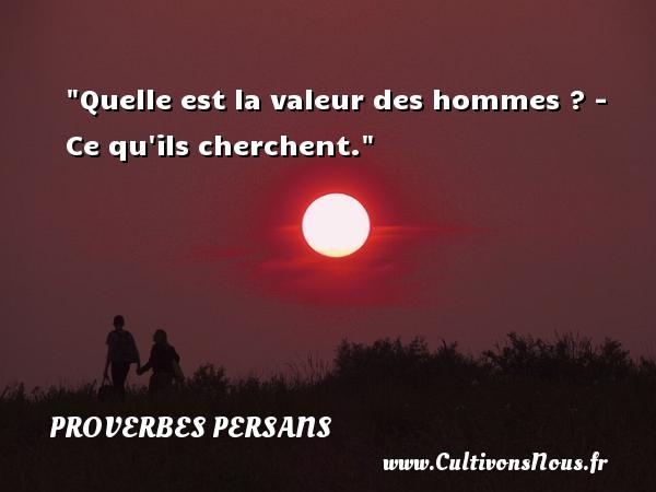 Quelle est la valeur des hommes ? - Ce qu ils cherchent.  Un Proverbe persan PROVERBES PERSANS - Proverbe valeur
