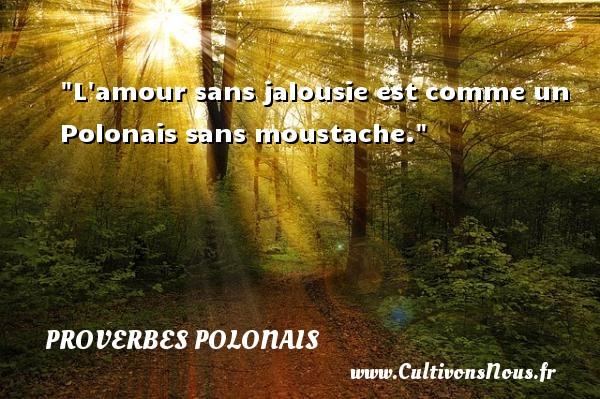 L amour sans jalousie est comme un Polonais sans moustache. Un Proverbe polonais PROVERBES POLONAIS - Proverbes philosophiques