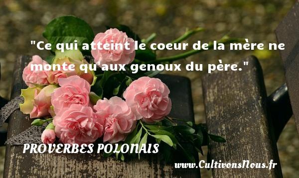 Proverbes polonais - Ce qui atteint le coeur de la mère ne monte qu aux genoux du père. Un Proverbe polonais PROVERBES POLONAIS