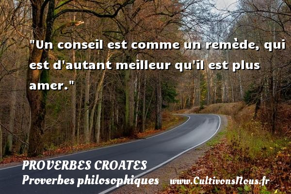 Un conseil est comme un remède, qui est d autant meilleur qu il est plus amer. Un Proverbe croate PROVERBES CROATES - Proverbes philosophiques