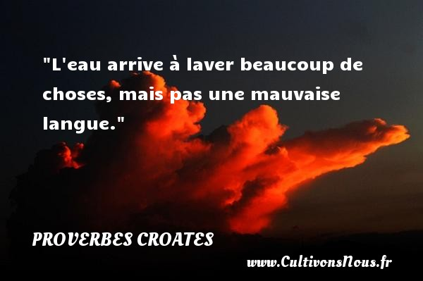 Proverbes croates - Proverbes philosophiques - L eau arrive à laver beaucoup de choses, mais pas une mauvaise langue. Un Proverbe croate PROVERBES CROATES