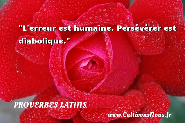 Proverbes latins - Proverbes Erreur - L erreur est humaine. Persévérer est diabolique. Un Proverbe latin PROVERBES LATINS