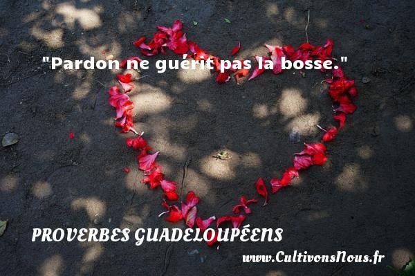 Proverbes guadeloupéens - Pardon ne guérit pas la bosse. Un Proverbe guadeloupéen PROVERBES GUADELOUPÉENS