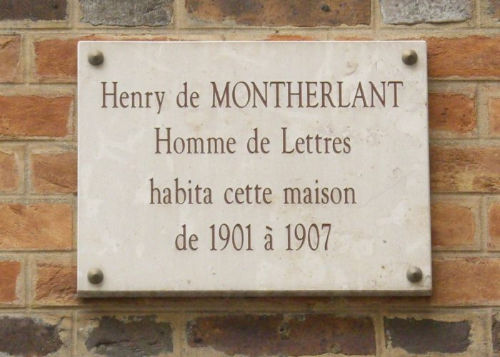 Plaque Henry de Montherlant
